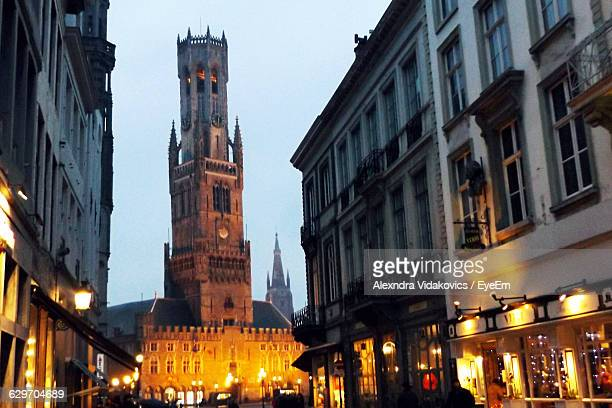 Illuminated Belfry Of Bruges At Dusk