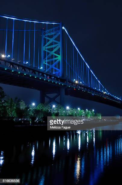 Illuminated Ben Franklin Bridge Against Night Sky