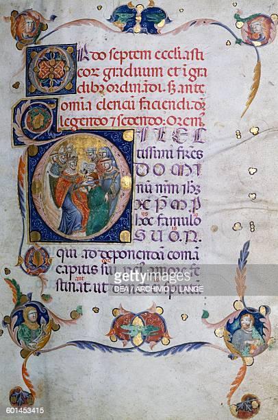 Illuminated Benedictine manuscript Basilica of St Nicholas Bari Apulia Italy