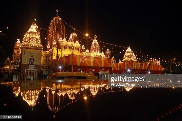 Illuminated Birla Mandir seen ahead of Janmashtami at Gole Market on September 2 2018 in New Delhi India