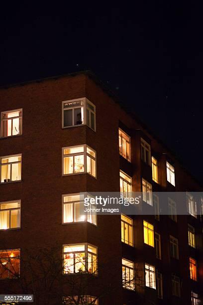 Illuminated block of flats