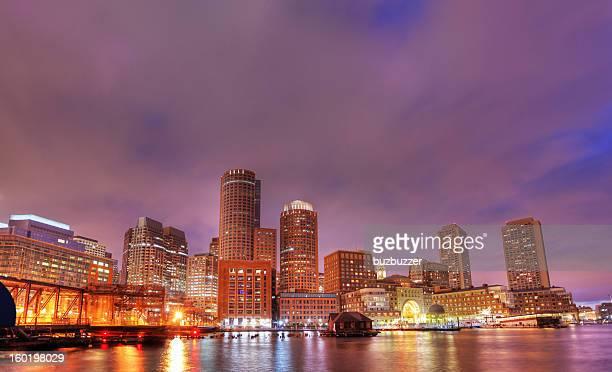 Illuminated Boston City at Night
