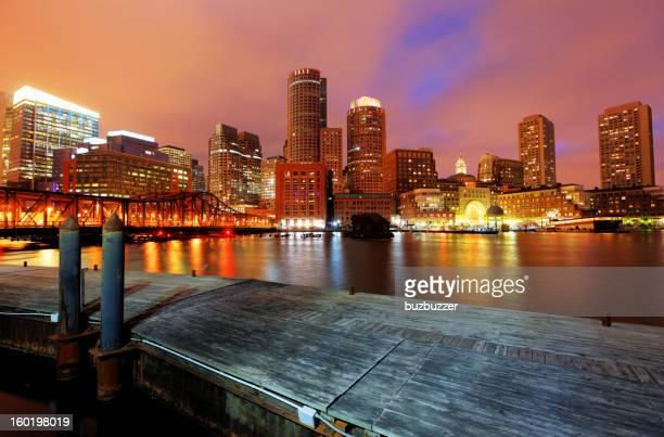 Illuminated Boston Cityscape at Night