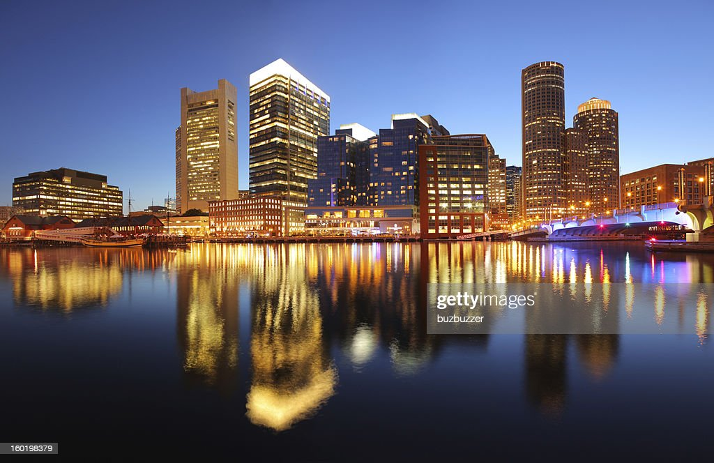 Illuminated Boston Cityscape at Sunset : Stock Photo