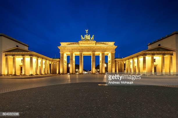 Illuminated Brandenburg Gate Against Sky