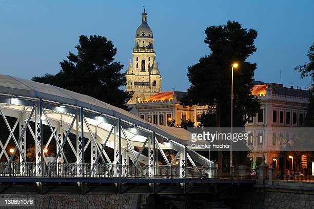 illuminated bridge and spire of the cathedral murcia spain - ムルシア市 ストックフォトと画像