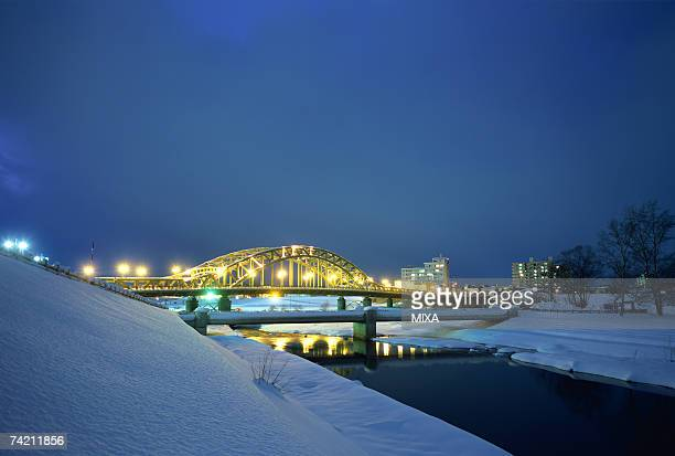 Illuminated Bridge, Asahikawa, Hokkaido, Japan