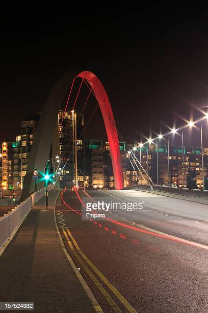 Illuminated Bridge at Night in Glasgow, Scotland.