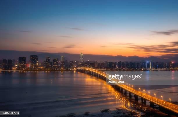 Illuminated bridge at sunset, Wenzhou, Zhejiang, China