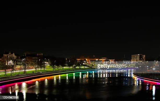 illuminated bridge over river in city at night - stockton on tees stock pictures, royalty-free photos & images