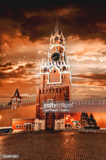illuminated building against sky during sunset, moscow - moscow russia stock pictures, royalty-free photos & images