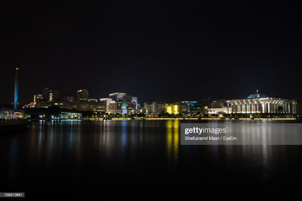 Illuminated Buildings At Night : Stock Photo