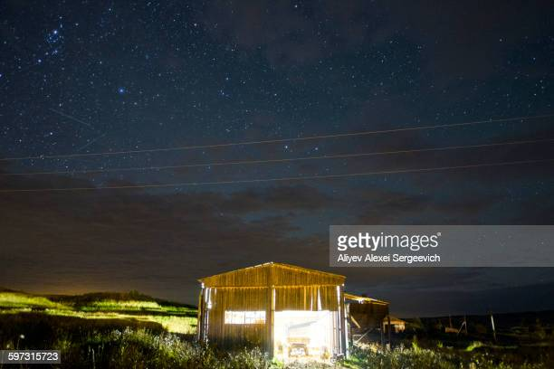 Illuminated cabin under starry night sky