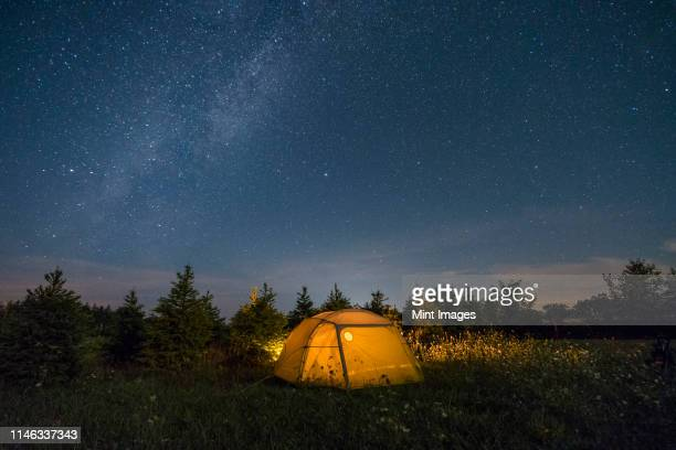 illuminated camping tent under starry sky - dusk stock pictures, royalty-free photos & images