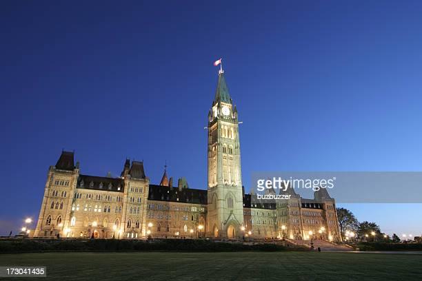 Illuminated Canadian Parliament Building at Sunset