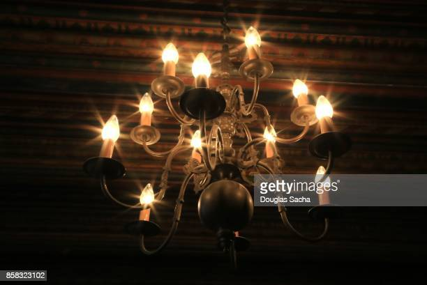Illuminated Candelabra in a dark room