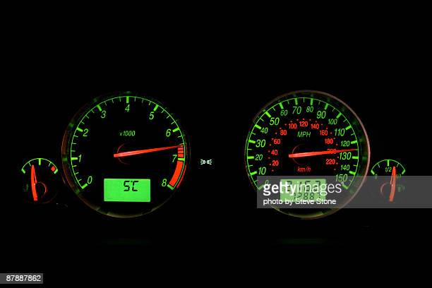 Illuminated car speed and rev counters