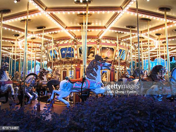 Illuminated Carousel Horses At Amusement Park