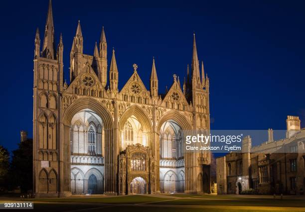 Illuminated Cathedral Against Clear Blue Sky