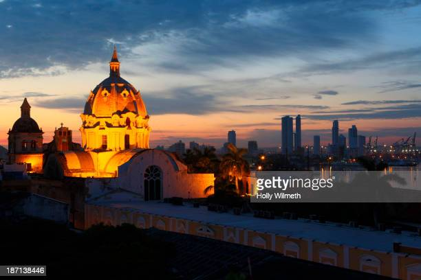 Illuminated cathedral dome, Cartagena, Cartagena, Colombia