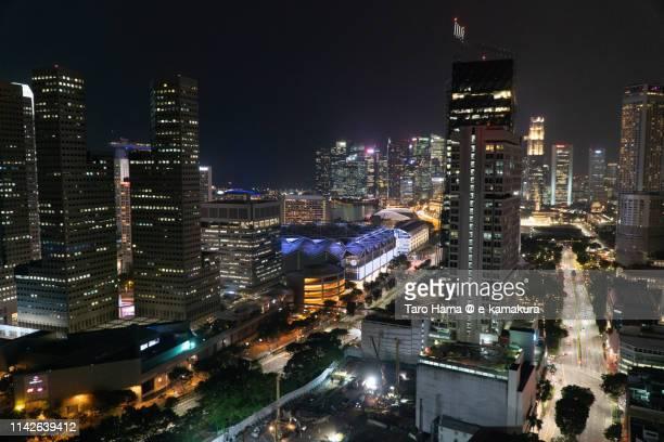 Illuminated center of Singapore city