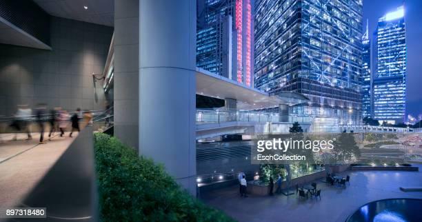 Illuminated Central Business District of Hong Kong at dusk