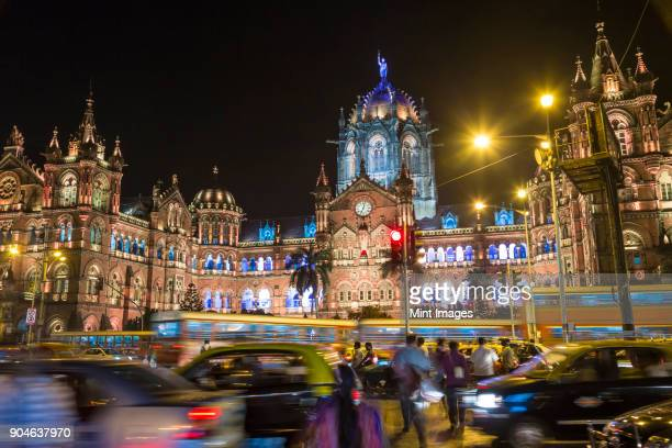 Illuminated Chhatrapati Shivaji Maharaj Terminus, CSMT, formerly known as Victoria Terminus Railway station, Mumbai, India.