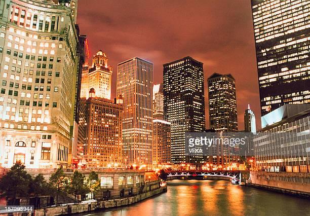 Illuminated Chicago River skyline at night