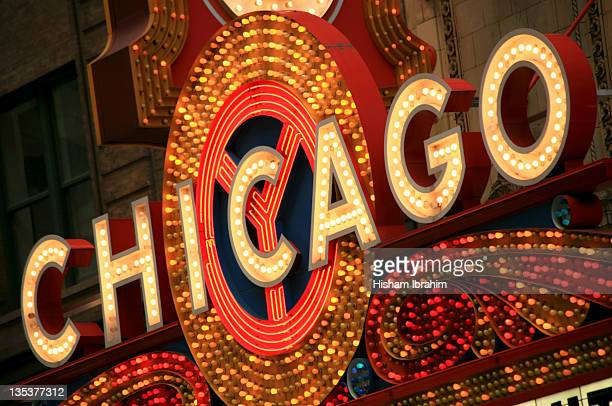 Illuminated Chicago Theater Sign, Chicago, IL, USA
