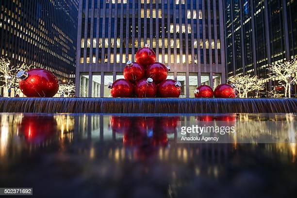 Illuminated Christmas decorations are seen at the streets and malls in New York USA on December 23 2015 US Department of Energy announced Christmas...