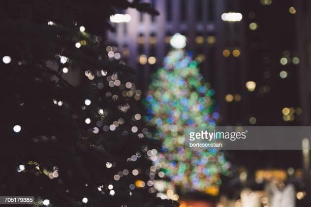 Illuminated Christmas Tree Against Rockefeller Center At Night