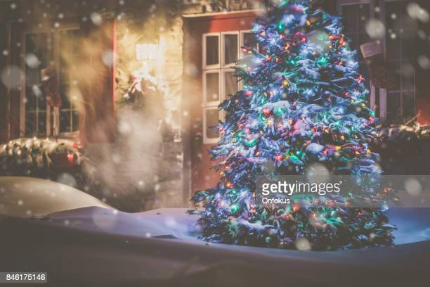 illuminated christmas tree at night during snowstorm - ornato foto e immagini stock