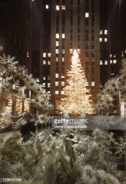 Illuminated Christmas tree at Rockefeller Center in Manhattan, New York City, New York at night, surrounded by decorations, December 21, 1949.