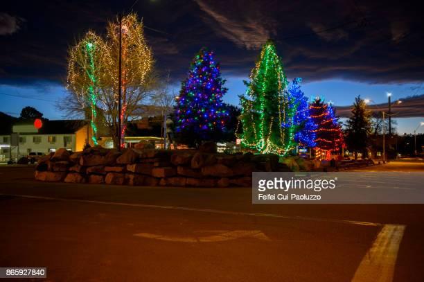 Illuminated Christmas tree at Williams, Arizona, USA
