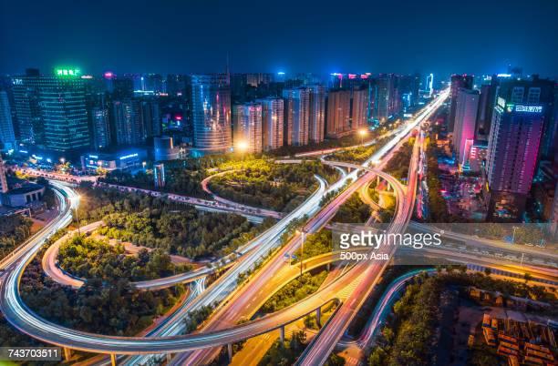 Illuminated city and city street, Xian, Shaanxi, China