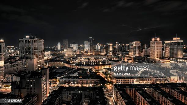 illuminated city at night, ningbo, zhejiang, china - ningbo stock pictures, royalty-free photos & images