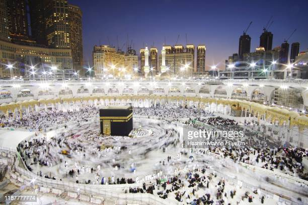 illuminated city at night - mecca stock pictures, royalty-free photos & images
