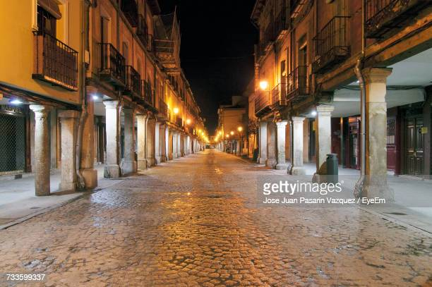 illuminated city at night - alcala de henares stock pictures, royalty-free photos & images