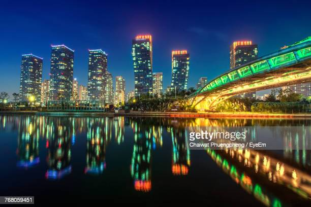 illuminated city at night - incheon stock pictures, royalty-free photos & images