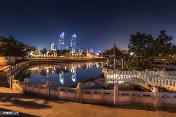 Illuminated city at night, Xiamen, Fujian, China