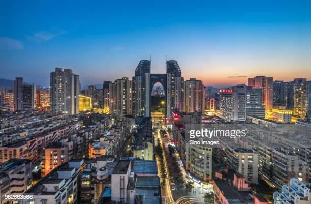 Illuminated city at sunset, Wenzhou, Zhejiang, China
