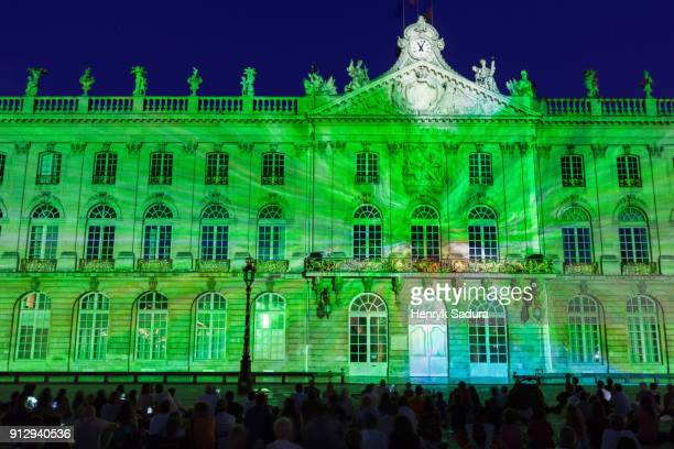 illuminated city hall in nancy - nancy green stock pictures, royalty-free photos & images