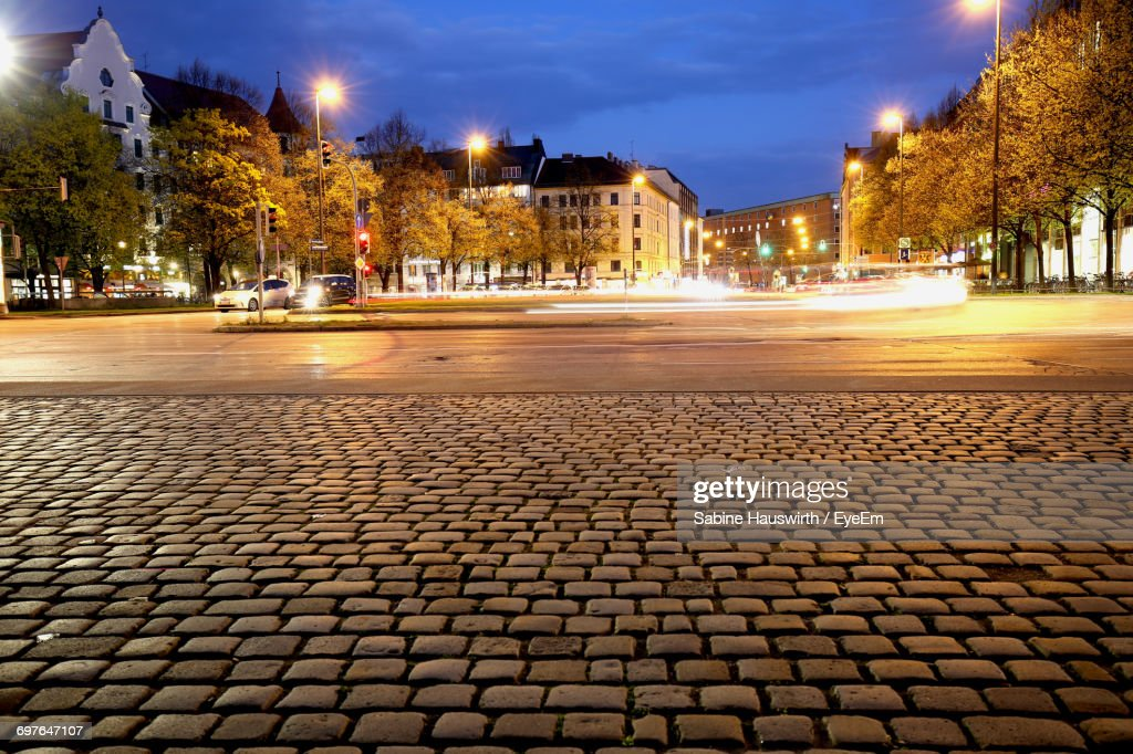 Illuminated City Street At Night : Stock-Foto