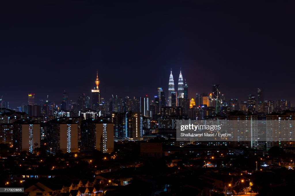 Illuminated Cityscape Against Clear Sky At Night : Stock Photo
