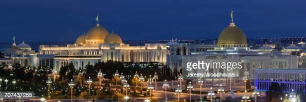 illuminated cityscape at night, ashkabad, turkmenistan - トルクメニスタン ストックフォトと画像