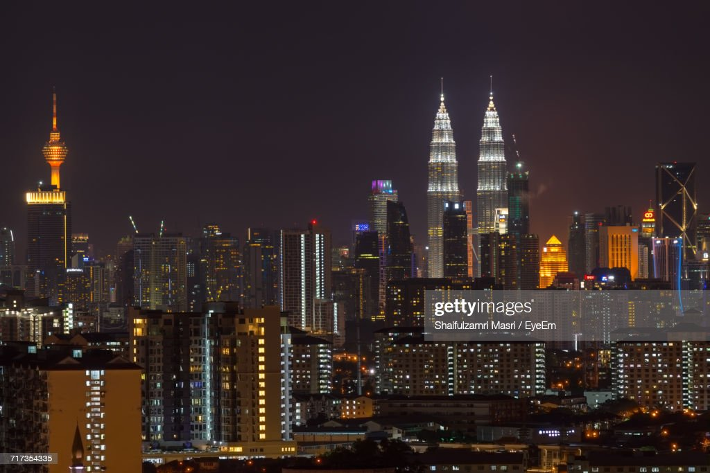 Illuminated Cityscape At Night : Stock Photo