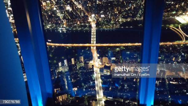 illuminated cityscape at night - bangalore city stock pictures, royalty-free photos & images