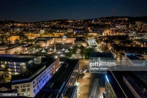 illuminated cityscape at night, stuttgart, baden-wuerttemberg, germany - stuttgart stock pictures, royalty-free photos & images