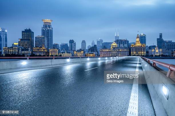 Illuminated cityscape at sunset, Tianjin, China