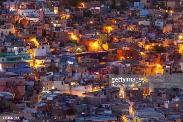 Illuminated cityscape, Guanajuato, Central Mexico, Mexico